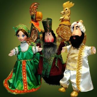 Куклы перчаточные Василиса, Попугай, Боярин, Золотой петушок, Заморской гость