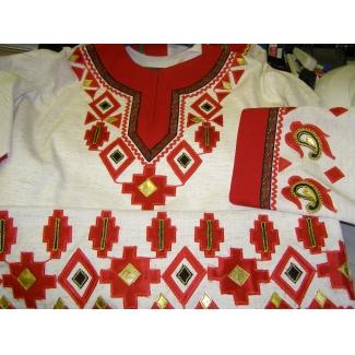 Рубашка народная лен с аппликацией