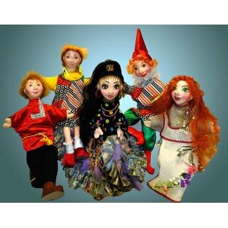 Куклы перчаточные Егорушка, Пеппи, Цыганка, Петрушка, Кикимора