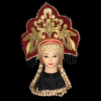 Кокошник Волшебница с плетением и шапочкой