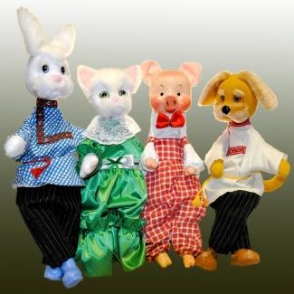 Куклы  перчаточные Заяц, Кошка, Поросенок, Собака
